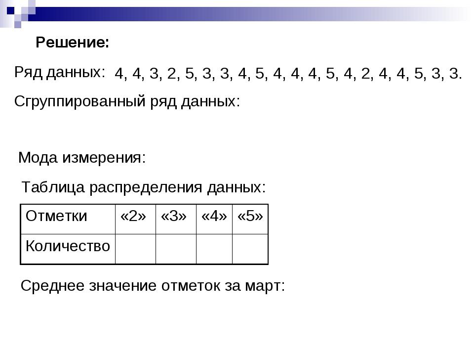 Ряд данных: Сгруппированный ряд данных: Мода измерения: Таблица распределения...
