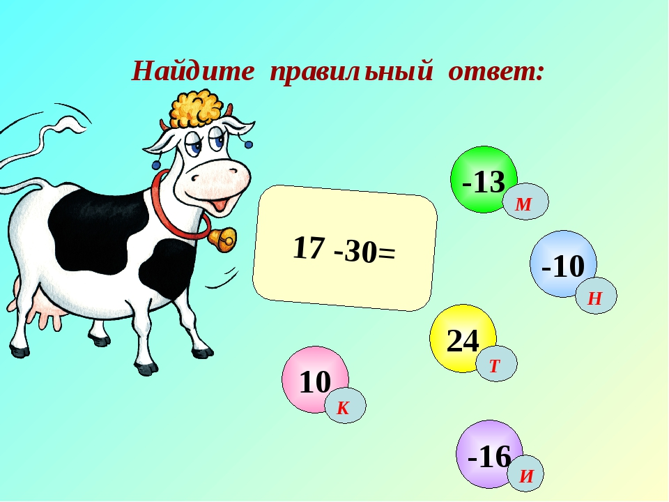 Найдите правильный ответ: 17 -30= 10 -10 24 -13 -16 М Н Т И К
