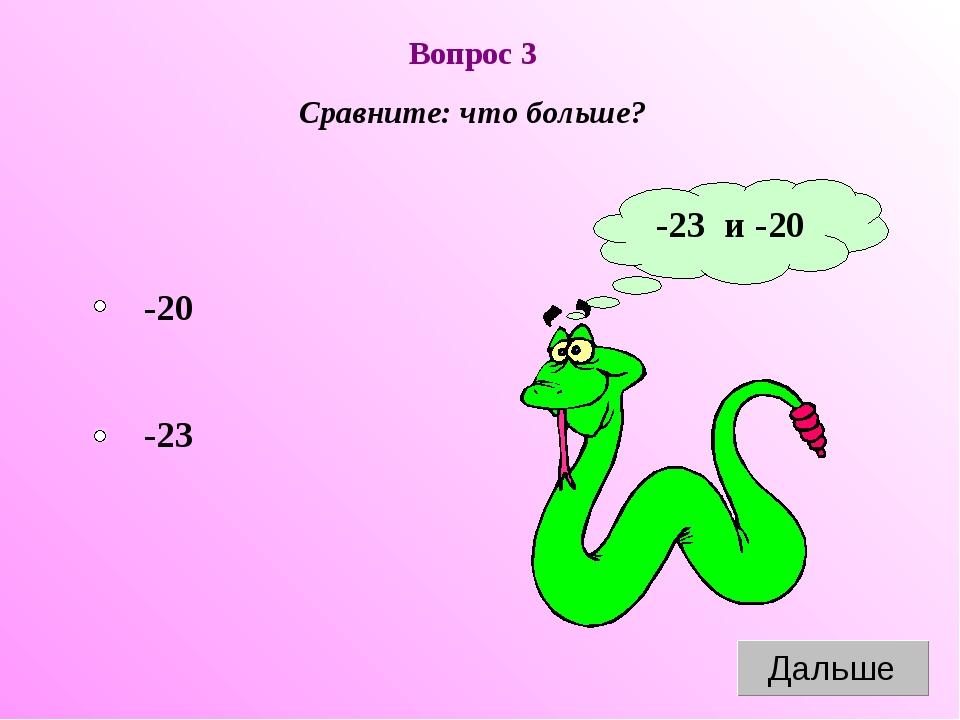 Вопрос 3 Сравните: что больше? -23 и -20 -23 -20