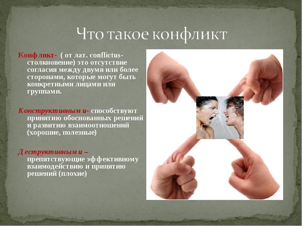 Конфликт- ( от лат. conflictus- столкновение) это отсутствие согласия между д...