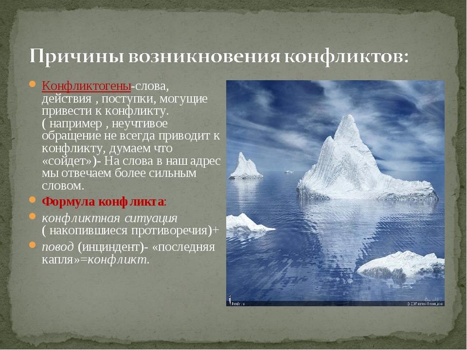 Конфликтогены-слова, действия , поступки, могущие привести к конфликту. ( нап...