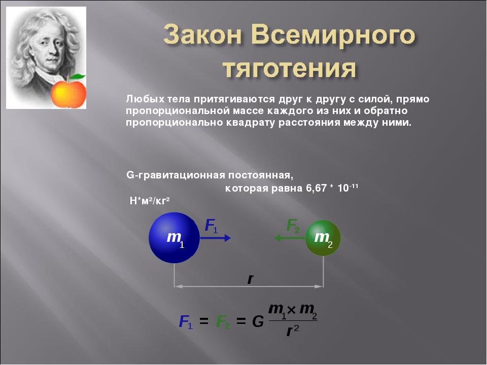 Любых тела притягиваются друг к другу с силой, прямо пропорциональной массе к...