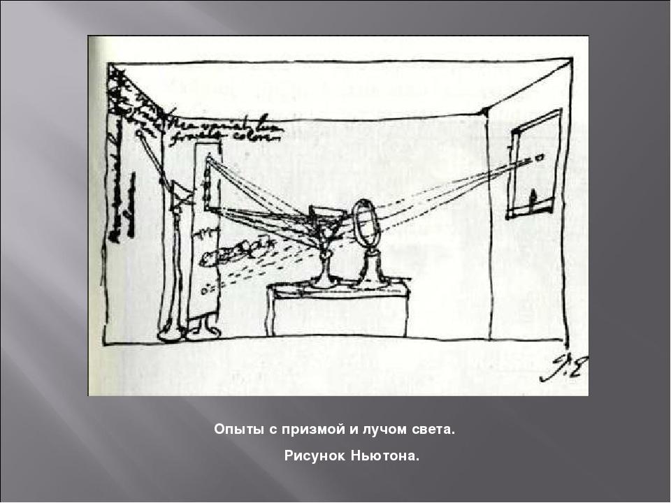 Опыты с призмой и лучом света. Рисунок Ньютона.