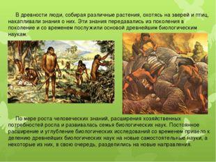 В древности люди, собирая различные растения, охотясь на зверей и птиц, нака