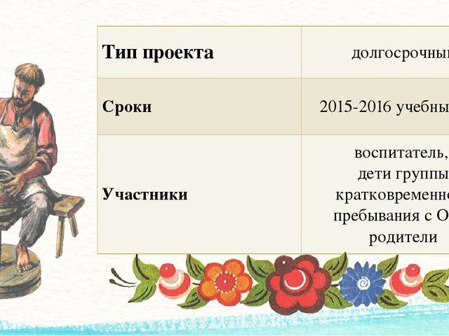 Тип проекта долгосрочный Сроки 2015-2016 учебный год Участники воспитатель, д...