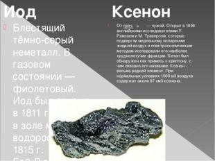 Блестящий тёмно-серый неметалл. В газовом состоянии — фиолетовый. Иод был отк
