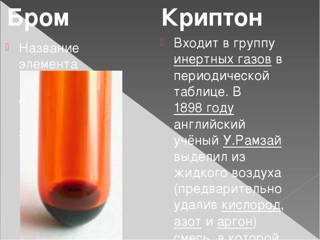 Название элемента происходит от др.-греч. βρῶμος— зловоние. Входит в группу...