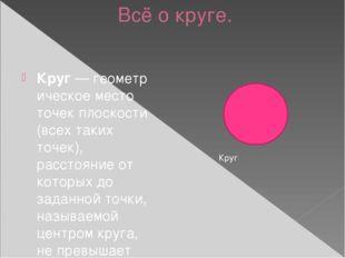 Всё о круге. Круг—геометрическое место точекплоскости (всех таких точек),