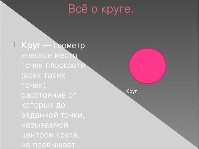 Всё о круге. Круг—геометрическое место точекплоскости (всех таких точек),...