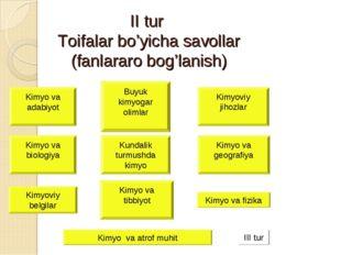 II tur Toifalar bo'yicha savollar (fanlararo bog'lanish) Kimyo va adabiyot Ki