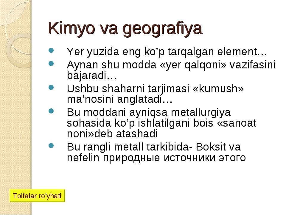 Kimyo va geografiya Yer yuzida eng ko'p tarqalgan element… Aynan shu modda «y...