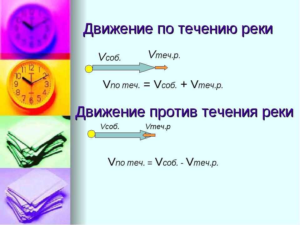 Движение по течению реки Vсоб. Vтеч.р. Vпо теч. = Vсоб. + Vтеч.р. Vсоб. Vтеч....