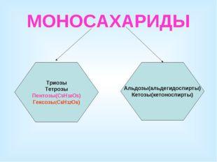 МОНОСАХАРИДЫ Триозы Тетрозы Пентозы(С5Н10О5) Гексозы(С6Н12О6) Альдозы(альдеги