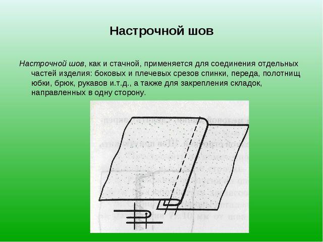 Настрочной шов Настрочной шов, как и стачной, применяется для соединения отде...