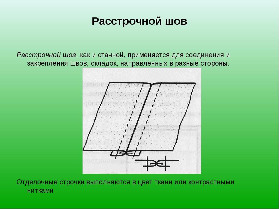 Расстрочной шов Расстрочной шов, как и стачной, применяется для соединения и...