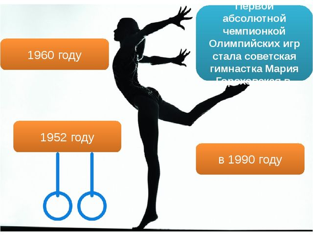 Первой абсолютной чемпионкой Олимпийских игр стала советская гимнастка Мария...