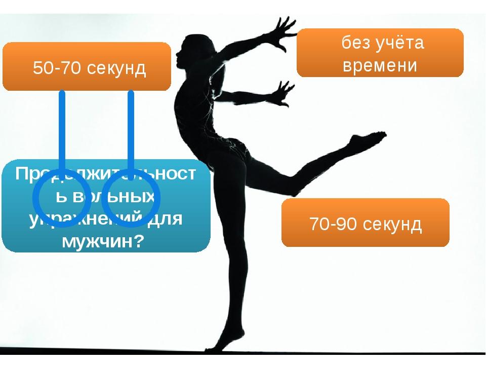 Продолжительность вольных упражнений для мужчин? 50-70 секунд без учёта време...