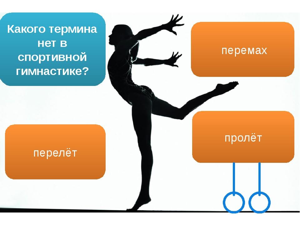 Какого термина нет в спортивной гимнастике? перемах пролёт перелёт