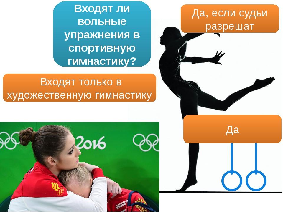 Входят ли вольные упражнения в спортивную гимнастику? Да, если судьи разрешат...