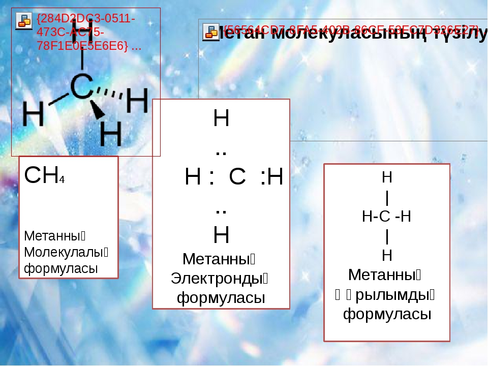 CH4 Метанның Молекулалық формуласы Н .. Н : С :Н .. Н Метанның Электрондық фо...
