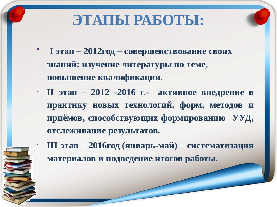 ЭТАПЫ РАБОТЫ: I этап – 2012год – совершенствование своих знаний: изучение ли...