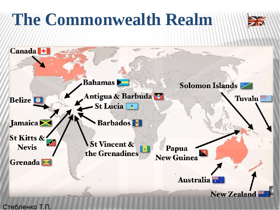 The Commonwealth Realm Стебленко Т.П. Королевства Содружества(англ.Commonwe...