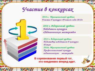 Участие в конкурсах 2012 г. Муниципальный уровень Участие в конкурсе «Учитель