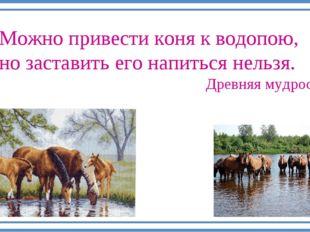 Можно привести коня к водопою, но заставить его напиться нельзя. Древняя мудр