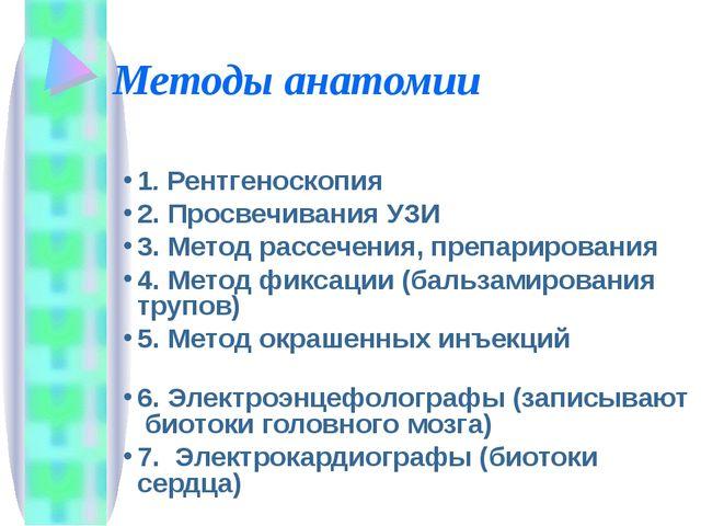 Методы анатомии 1. Рентгеноскопия 2. Просвечивания УЗИ 3. Метод рассечения, п...