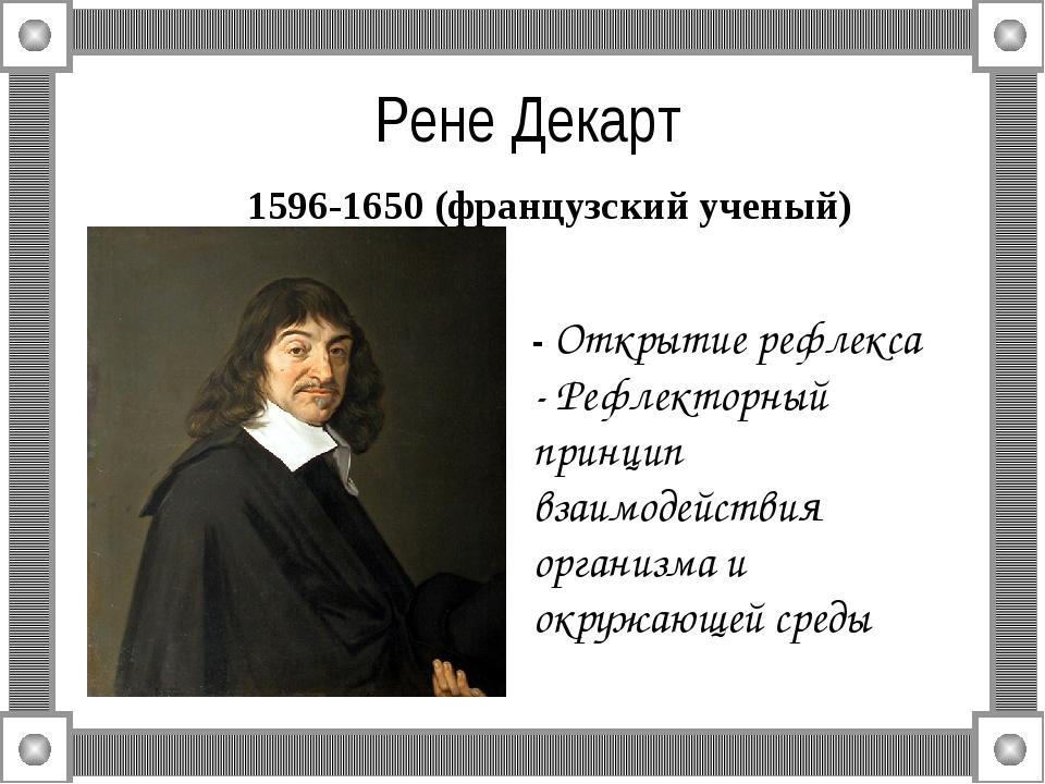 Рене Декарт 1596-1650 (французский ученый) - Открытие рефлекса - Рефлекторны...