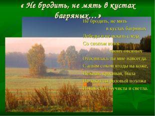 « Не бродить, не мять в кустах багряных…» Не бродить, не мять в кустах багрян