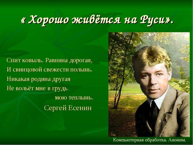 « Хорошо живётся на Руси». Спит ковыль. Равнина дорогая, И свинцовой свежести...