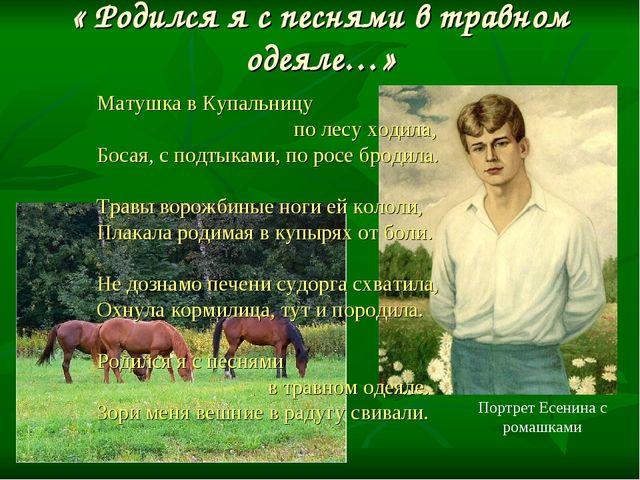 « Родился я с песнями в травном одеяле…» Матушка в Купальницу по лесу ходила,...