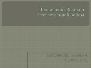 Выполнили: Гекман А. Шелудько Д.