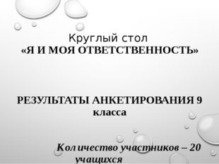 Круглый стол «Я И МОЯ ОТВЕТСТВЕННОСТЬ» РЕЗУЛЬТАТЫ АНКЕТИРОВАНИЯ 9 класса Коли