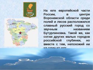 На юге европейской части России, в центре Воронежской области среди полей и