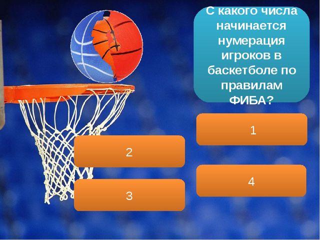 С какого числа начинается нумерация игроков в баскетболе по правилам ФИБА? 1...