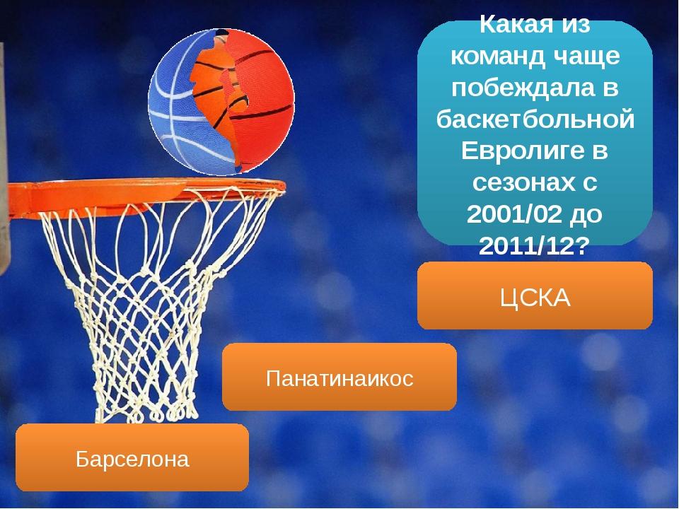 Какая из команд чаще побеждала в баскетбольной Евролиге в сезонах с 2001/02 д...