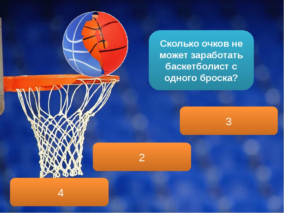 Сколько очков не может заработать баскетболист с одного броска? 4 3 2