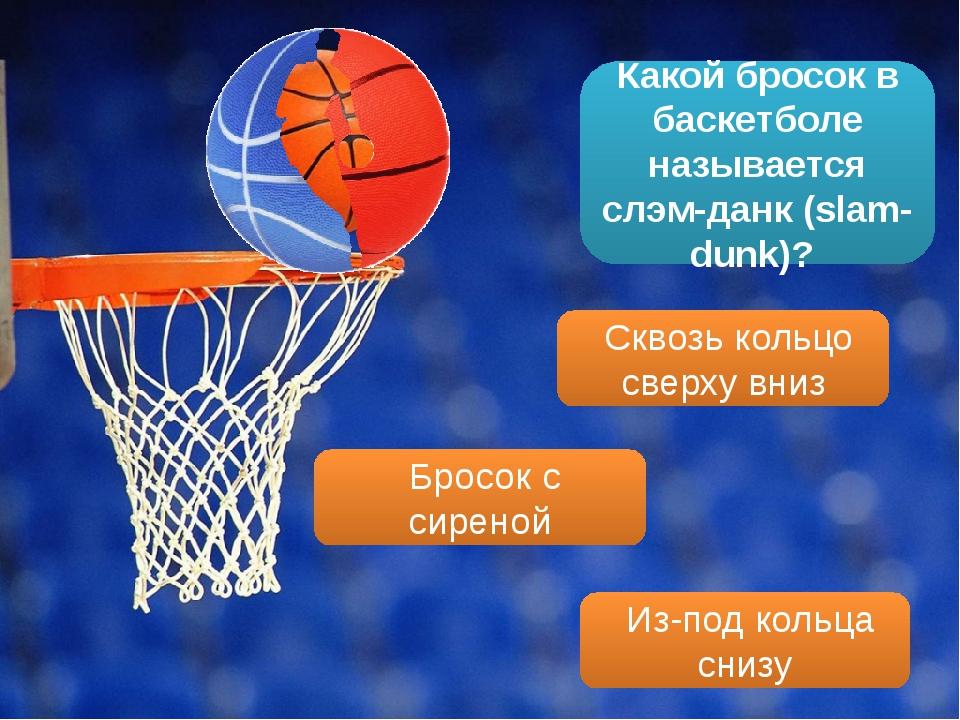 Какой бросок в баскетболе называется слэм-данк (slam-dunk)? Сквозь кольцо све...