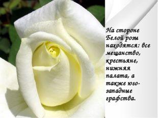 На стороне Белой розы находятся: все мещанство, крестьяне, нижняя палата, а