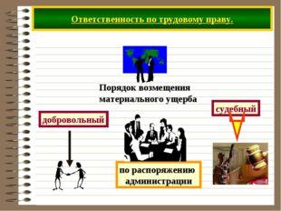 Ответственность по трудовому праву. добровольный судебный