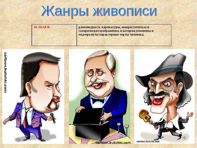 16. ШАРЖразновидность карикатуры, юмористическое и сатирическое изображение,...