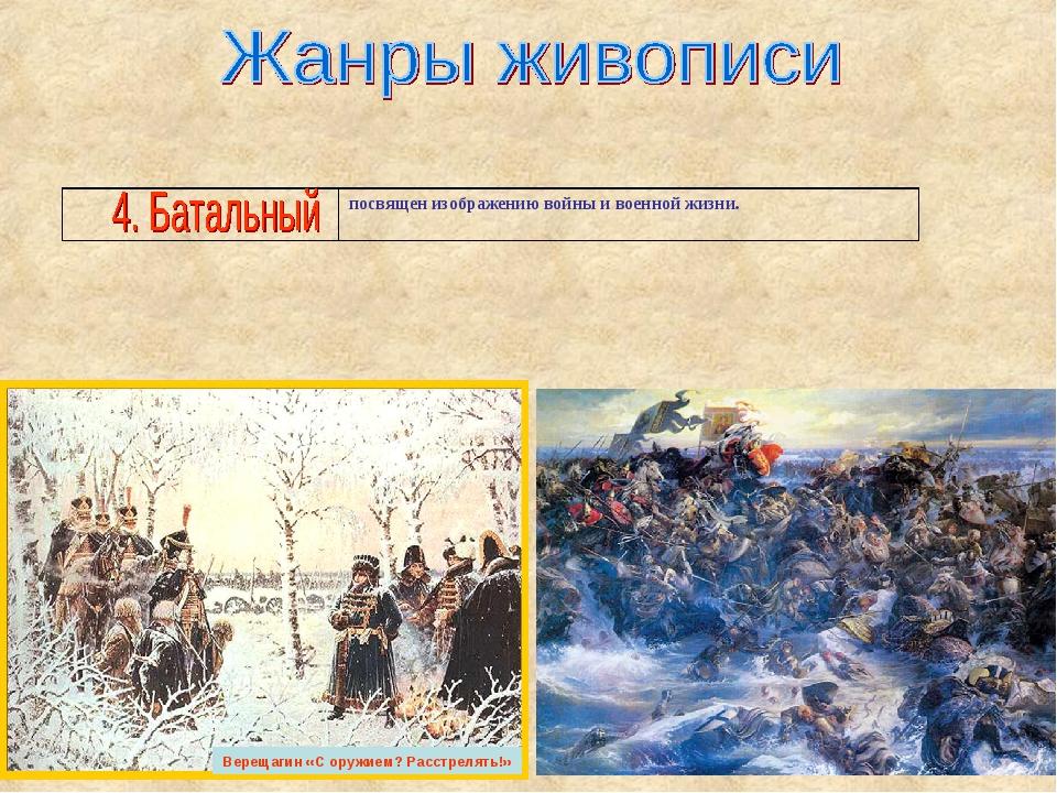 Верещагин «С оружием? Расстрелять!» посвящен изображению войны и военной жиз...