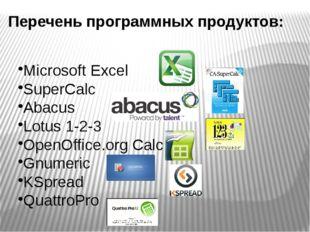 Microsoft Excel SuperCalc Abacus Lotus 1-2-3 OpenOffice.org Calc Gnumeric KSp