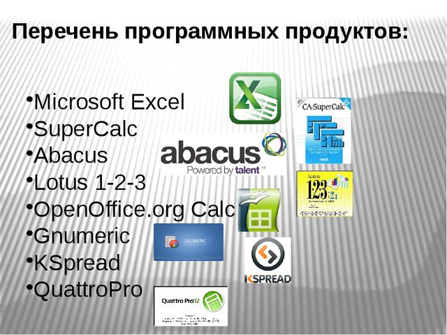 Microsoft Excel SuperCalc Abacus Lotus 1-2-3 OpenOffice.org Calc Gnumeric KSp...