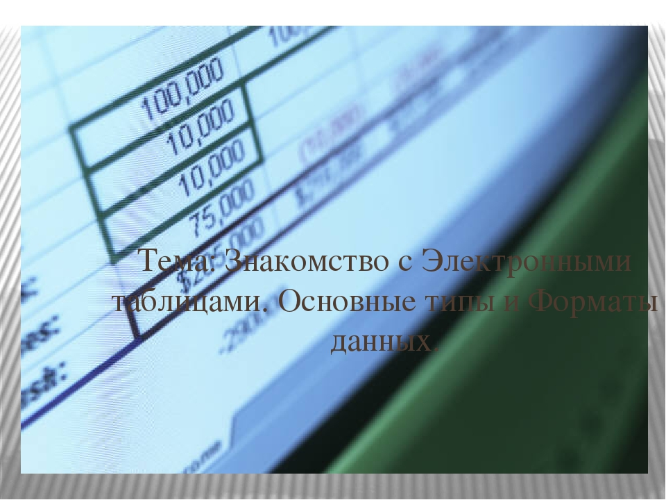 Тема: Знакомство с Электронными таблицами. Основные типы и Форматы данных.