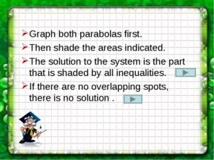 Graph both parabolas first. Then shade the areas indicated. The solution to t
