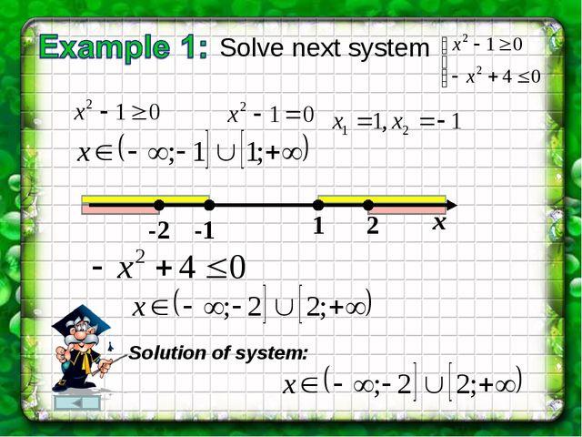 Solve next system -1 1 -2 2 х Solution of system: