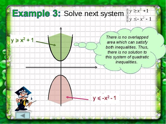 Solve next system There is no overlapped area which can satisfy both inequali...